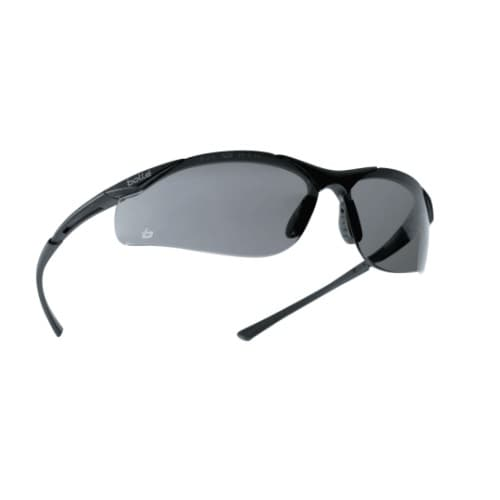 Bolle Safety Contour Series Safety Glasses, Black w/ Smoke Lens