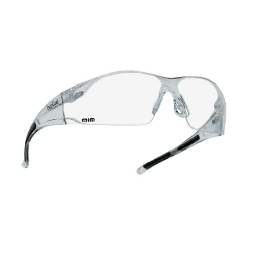 Bolle Safety Rush Series Safety Glasses, HD, Clear Frame & Lens