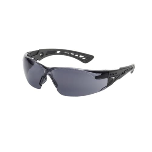 Bolle Safety Rush Series Safety Glasses, Black Frame w/ Smoke Lens