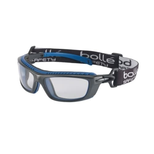 Bolle Safety Baxter Series Safety Glasses, Blue & Gray w/ Clear Lens