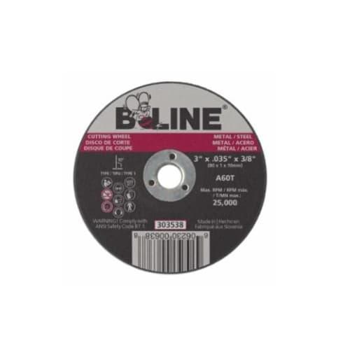 Bee Line Abrasives 3-in Flat Cutting Wheel, 60 Grit, Aluminum Oxide, Resin Bond