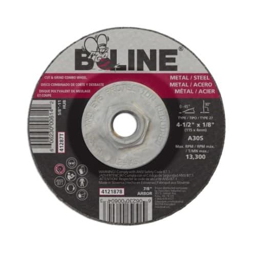 Bee Line Abrasives 4.5-in Depressed Center Combo Wheel, 30 Grit, Aluminum Oxide, Resin Bond