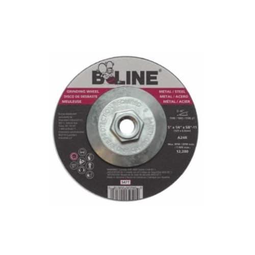 Bee Line Abrasives 5-in Depressed Center Grinding Wheel, 24 Grit, Aluminum Oxide, Resin Bond