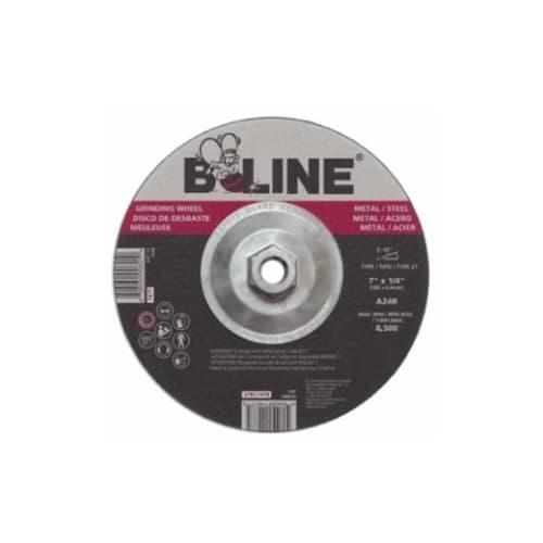 Bee Line Abrasives 7-in Depressed Center Grinding Wheel, 24 Grit, Aluminum Oxide, Resin Bond