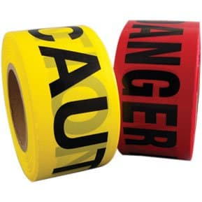 Danger Tape Red with Black Lettering, 3'' wide, 1000'