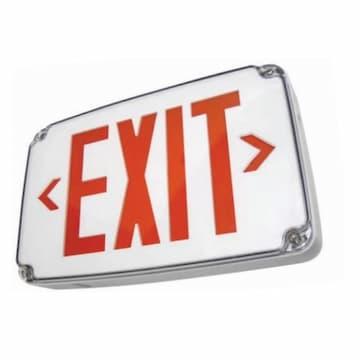 GP Wet Location LED Exit Sign w/ Battery Backup, Red Letter, 120V-277V, White