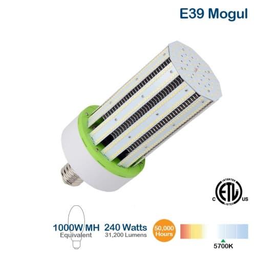 NovaLux 240W LED Corn Bulb, 1000W MH/HID Retrofit, E39, 28800 lm, 480V, 5700K