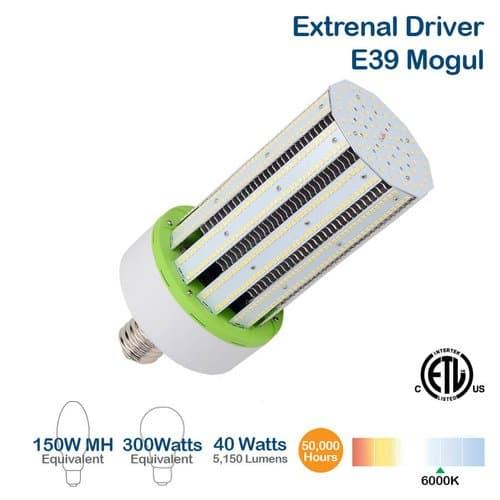 NovaLux 40W LED Corn Bulb, 150W MH Retrofit, Ballast Bypass, E39, 5150 lm, 6000K