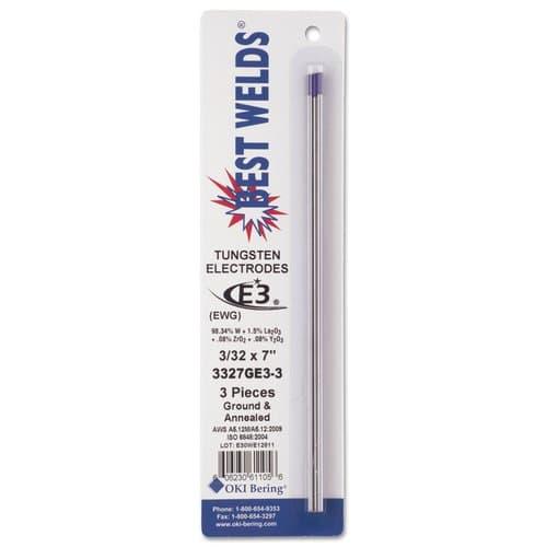 Best Welds Tungsten Electrodes, 3/32 in Dia., 7 in Long, E3, 3/PK