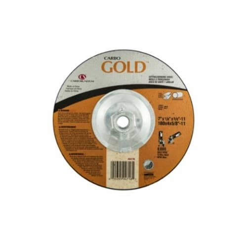 Carborundum 7-in A24 Gold Depressed Center Combo Wheel, 24 Grit, Aluminum Oxide