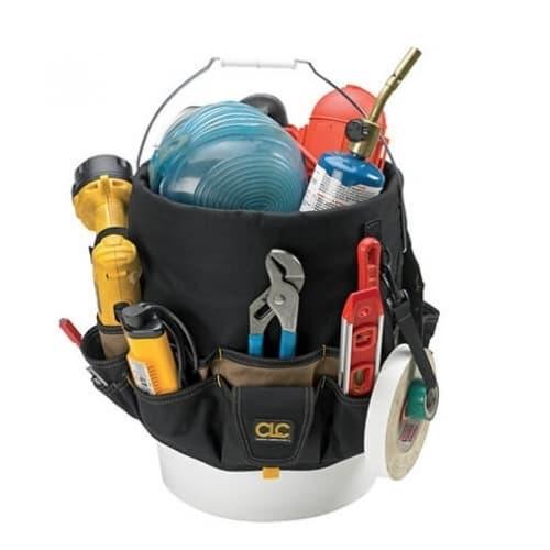 Custom LeatherCraft 3.5-5 Gal. Bucket Organizer, 48 Pockets, Black