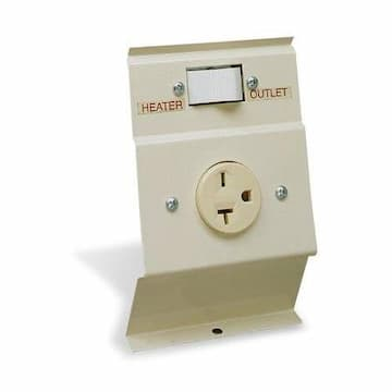 Cadet Heater 240V Load Transfer Switch w/ Outlet for Electric Baseboard Heater, Almond