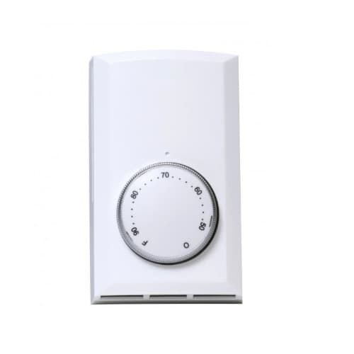 Cadet Single Pole Wall Mount Thermostat, Non-Programmable, 22 Amp, White