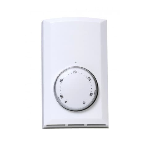 Cadet Line Voltage Double Pole Wall Mount Thermostat, White