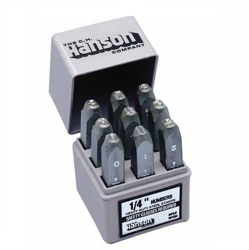 C.H. Hanson 3/16 Inch Standard Steel 0-8 Handheld Stamp Set, 9 Piece Set