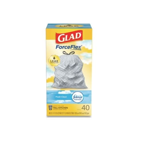 Clorox 13 Gal. GLAD OdorShield Tall Kitchen Drawsting Trash Bags w/ ForceFlex