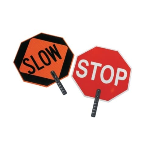 18-in Stop/Slow Silk Screened Safety Paddle w/ 9-in Handle