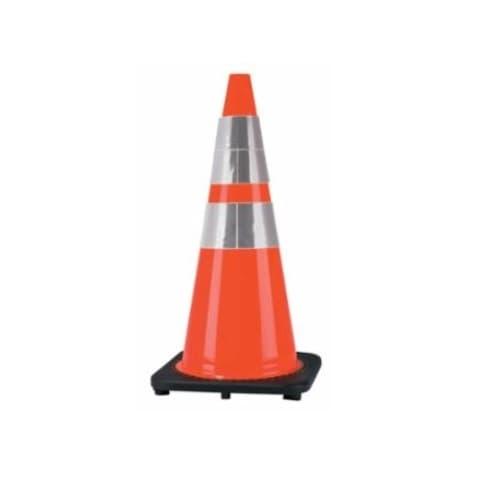 28-in PVC Traffic Cone w/Reflective Collar, Orange