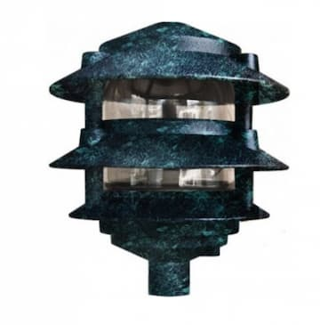 "4W 6"" 3-Tier LED Pagoda Pathway Light w/ 1/2"" Base, 3000K, Verde Green"