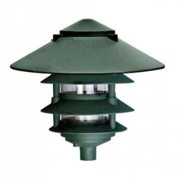 Dabmar 10-in 6W 4-Tier LED Pagoda Pathway Light w/ 3-in Base, A19, 120V, 3000K, Green