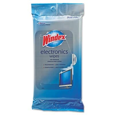 Diversey Windex Electronics Cleaner, 25 Wipes
