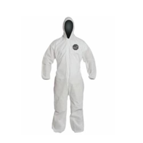 Dupont Coveralls with Attached Hood, White, 2XL