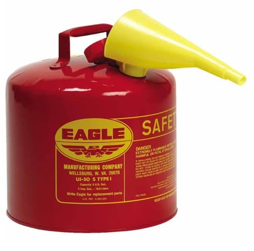 Eagle 5 Gallon Yellow Type I Galvanized Steel Safety Can