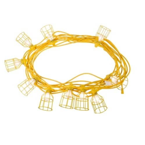 100 ft 15 Amp Temporary 14/3 AWG String Lights w/ Metal Cages