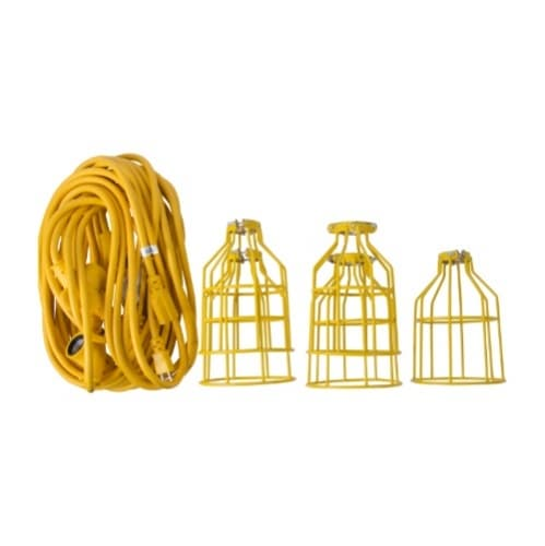 50 ft 15 Amp Temporary 12/3 AWG String Lights w/ Metal Cages