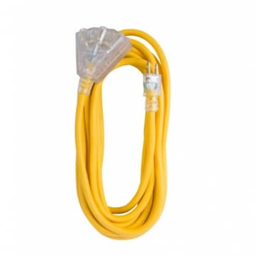25 ft Yellow 12/3 SJTW Lighted End Triple Tap Extension Cord