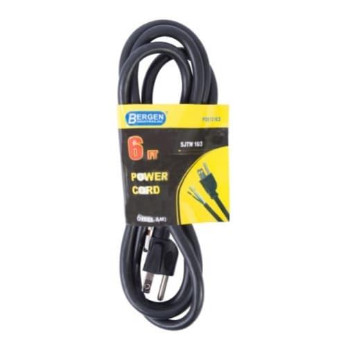 6 ft Black Straight Plug 16/3 Power Supply Cord