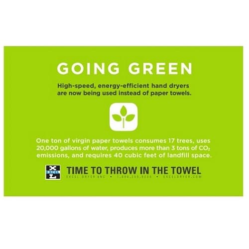 Excel Dryer Wall Placard with Going Green Message for Hand Dryers, Green