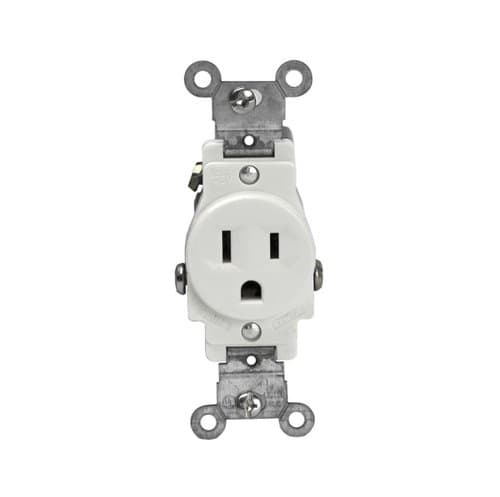 Enerlites 15 Amp Single Receptacle, Side-Wire, Commercial Grade, White