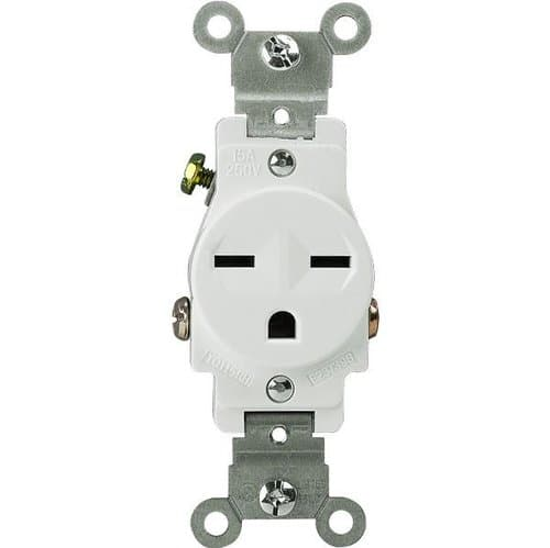 Enerlites White 2-Pole High Voltage Single Commercial Receptacle