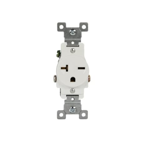 Enerlites White Commercial Grade Side Wired 2-Pole 20A High Voltage Single Receptacle