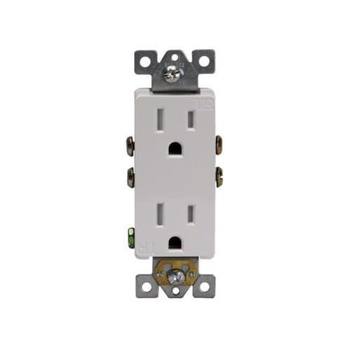 Enerlites 15 Amp Tamper Resistant Decora Duplex Receptacle, White