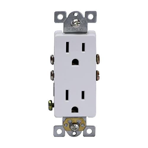 Enerlites 15 Amp Push-In/Side-Wired Decora Duplex Receptacle, White