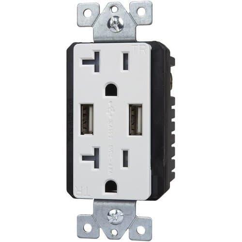 Enerlites White Dual USB Charger 20A Duplex Tamper Resistant Receptacle