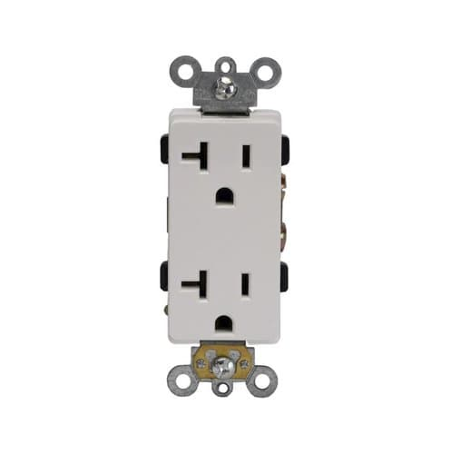 Enerlites 20 Amp Duplex Decora Receptacle, Push In & Side Wired, White