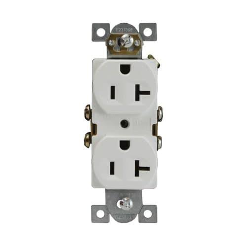 Enerlites 20 Amp Tamper Resistant Duplex Receptacle, Commercial Grade, White