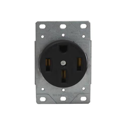 Enerlites Black 50A Industrial Grade Flush Mount Receptacle