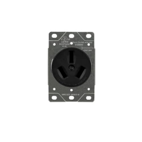 Enerlites Black 50A 3-Pole Industrial Grade Flush Mount Receptacles
