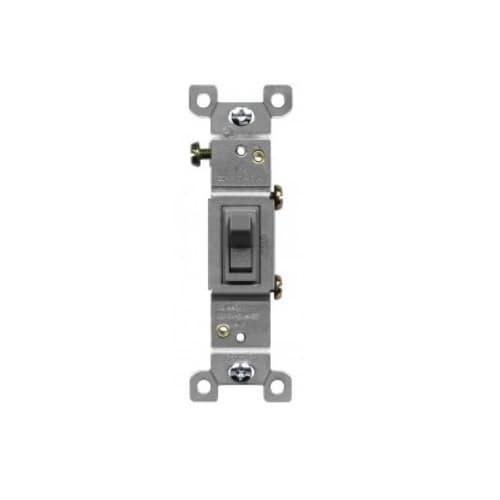 Toggle Light Switch, Single-Pole, 15 A, 120V-277V, Gray