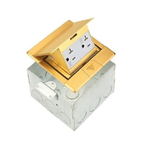 Enerlites Brass Square Pop-Up Floor Box w/ 20 Amp TRWR Resistant Decora Receptacle