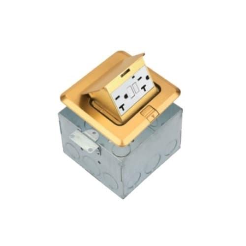 1-Gang Pop-up GFCI Duplex Floor Box, Square, 20A, 125V, Brass
