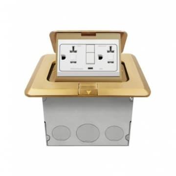 1-Gang Pop-up USB Duplex Floor Box, Square, 20A, 125V, Brass