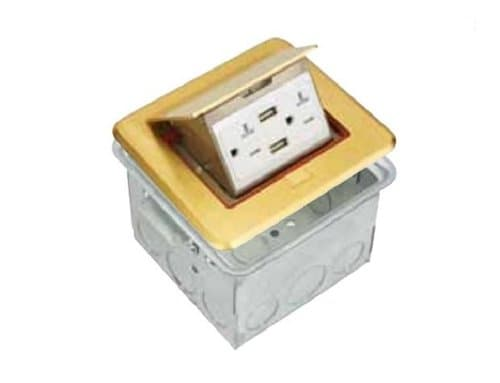 Enerlites Brass Commercial Grade Rectangular Pop-Up Floor Box for a 4.0A USB Charger
