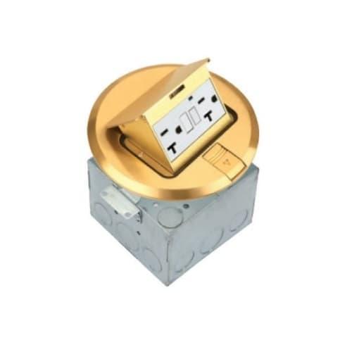 1-Gang Pop-up GFCI Duplex Floor Box, Round, 20A, 125V, Brass