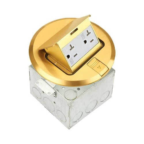 Enerlites Brass Round Pop-Up Floor Box w/20 Amp TRWR Duplex Receptacle