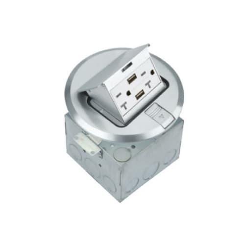 1-Gang Pop-up USB Duplex Floor Box, TWR, Round, 20A, 125V, Nickel